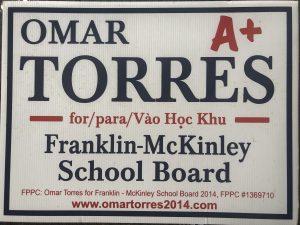 omar torres school board lawn sign