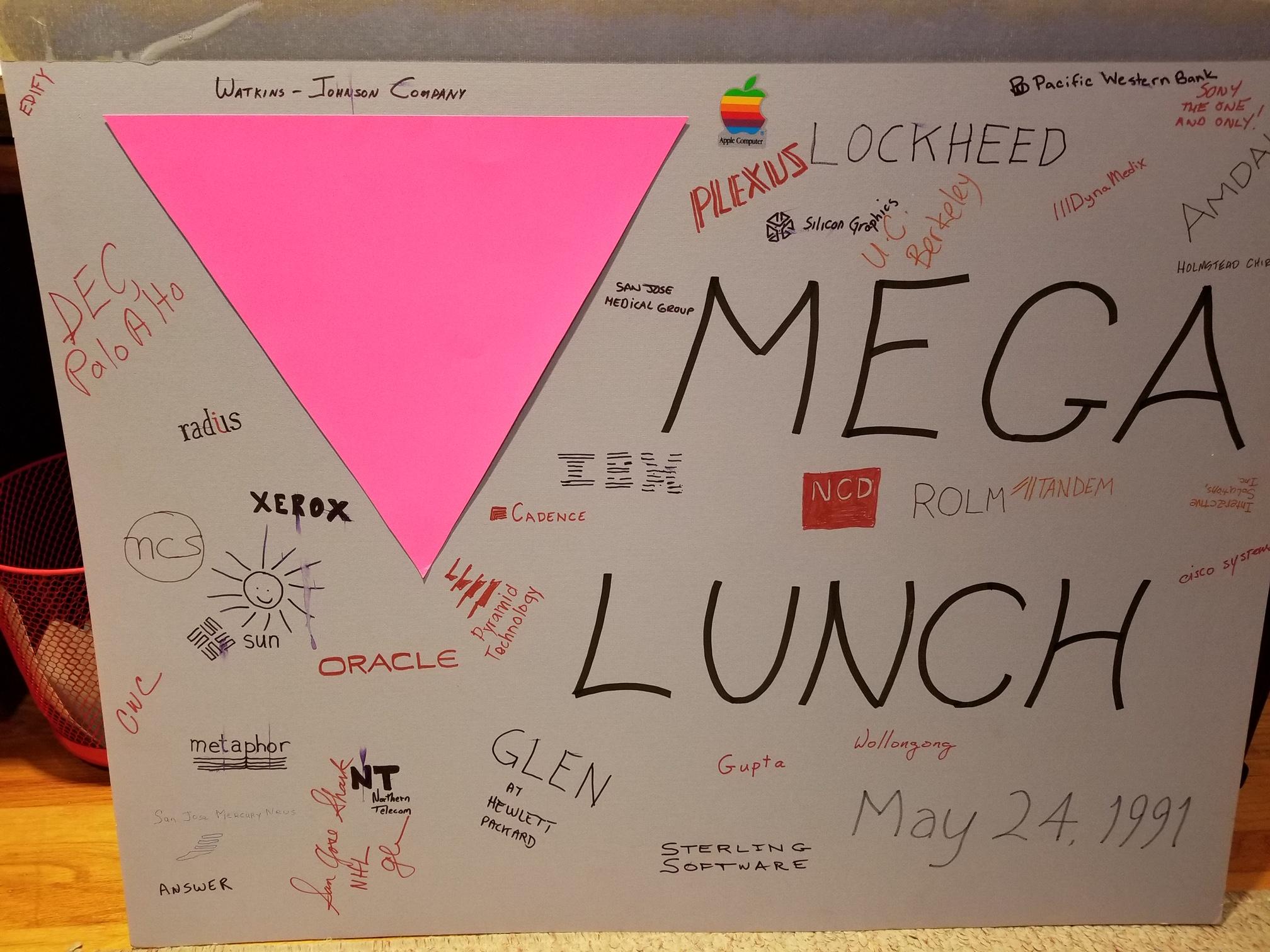 mega lunch sign 1991