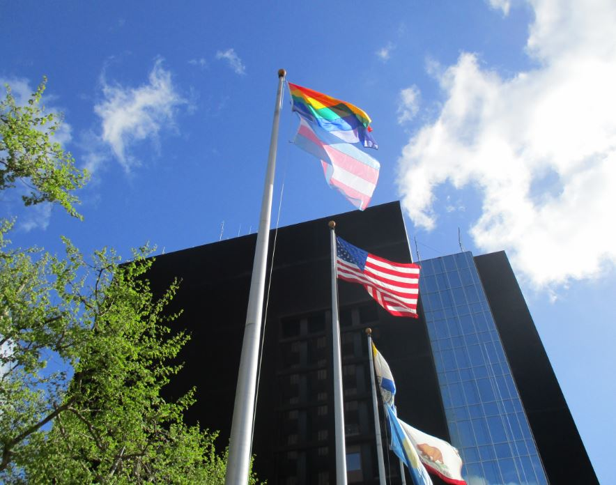 trans day of visibility flag raising