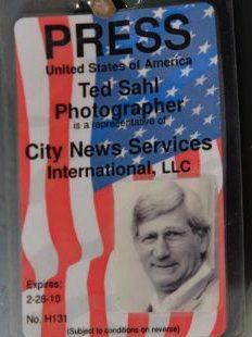 Ted Sahl press pass